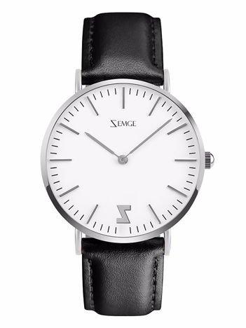 ZEMGE Zegarek unisex srebrny na skórzanym czarnym pasku Eleganckie pudełko prezentowe w komplecie