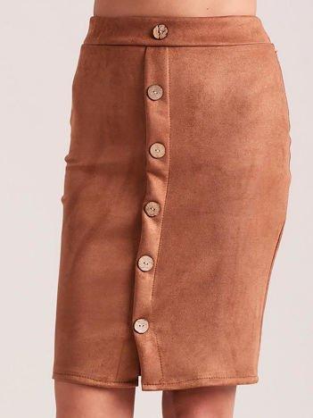 Zamszowa spódnica ołówkowa jasnobrązowa
