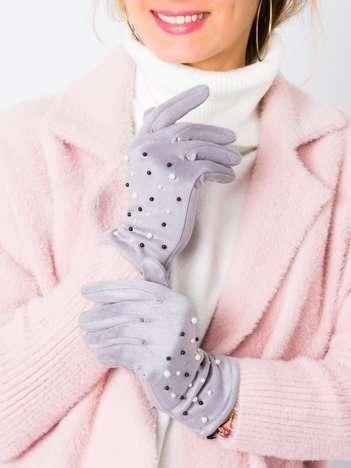 Zamszowe damskie rękawiczki z perełkami