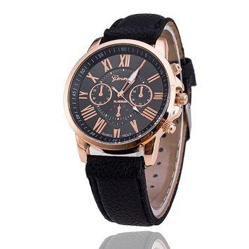 Zegarek damski czarny ze wzorem chronografu na tarczy