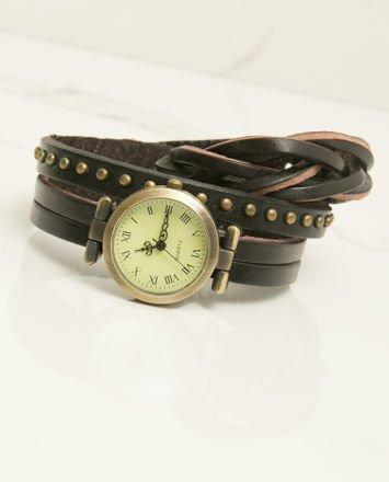 Zegarek damski na skórzanym czarnym pasku owijanym wokół nadgarstka