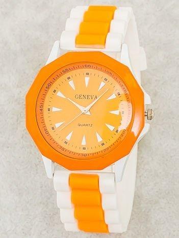 Zegarek damski na wygodnym silikonowym pasku biało-pomarańczowy