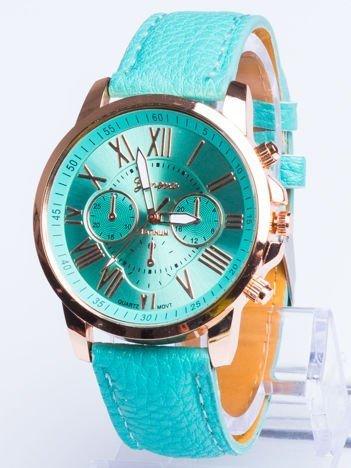 Zegarek damski z ozdobnym chronografem miętowy