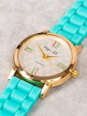 Zegarek damski z pięknym wzorem na tarczy i cyrkoniami miętowy HIT!