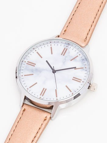 Zegarek damski złoty z marmurową tarczą