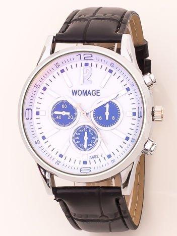 a2b7cb8e2395d2 Zegarek męski na skórzanym pasku z ozdobnym chronografem i metalizującym  szkiełkiem