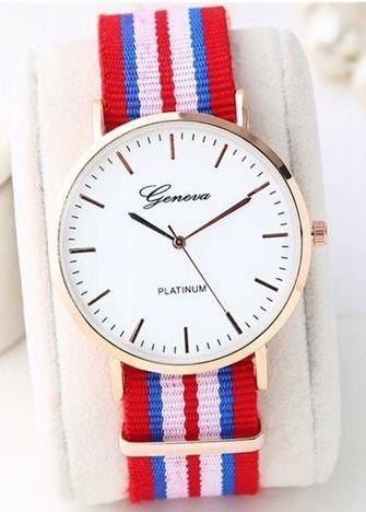 Zegarek unisex na kolorowym nylonowym pasku