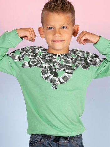 Zielona bawełniana bluza dziecięca z nadrukiem węży