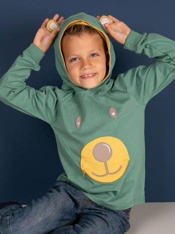 Zielona bluza dla z kapturem dla chłopca
