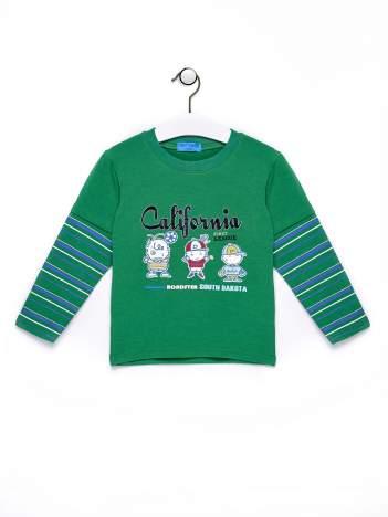 Zielona bluzka chłopięca z napisem CALIFORNIA
