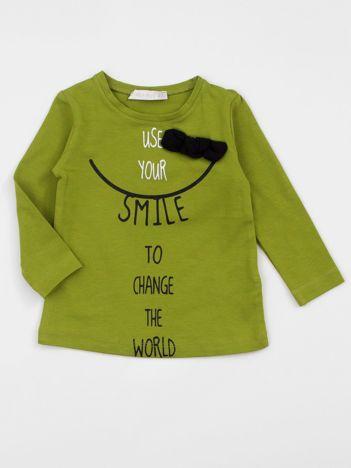 Zielona bluzka dziewczęca z nadrukiem