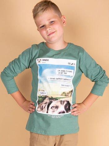 Zielona bluzka dziewczęca z pieskiem