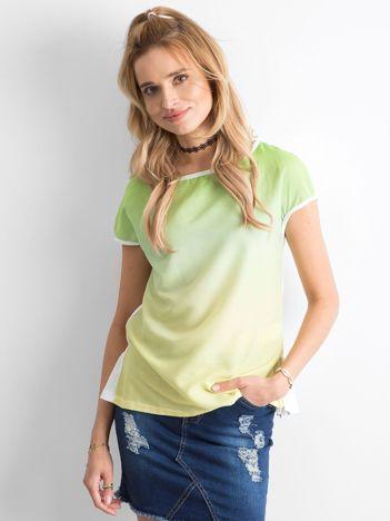 Zielona bluzka ombre z falbanką