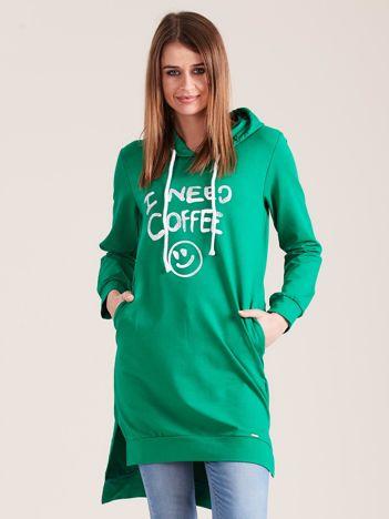 Zielona długa bluza z kapturem I NEED COFFEE
