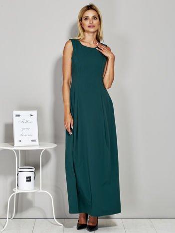 Zielona długa sukienka wieczorowa z siateczkowym dekoltem z tyłu