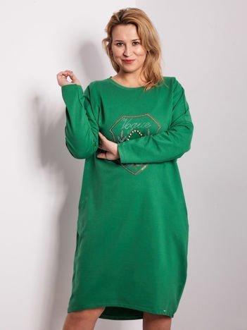 Zielona dresowa sukienka z kieszeniami PLUS SIZE