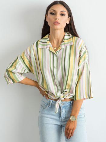 Zielona koszula w kolorowe paski