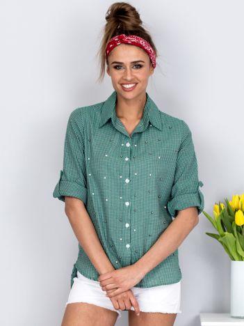 Zielona koszula w kratę z perełkami
