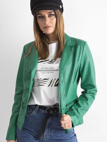 Zielona kurtka damska ze skóry ekologicznej