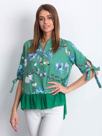 Zielona kwiatowa bluzka z falbaną