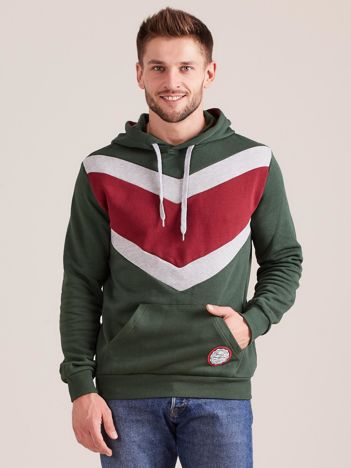 Zielona męska bluza z kapturem
