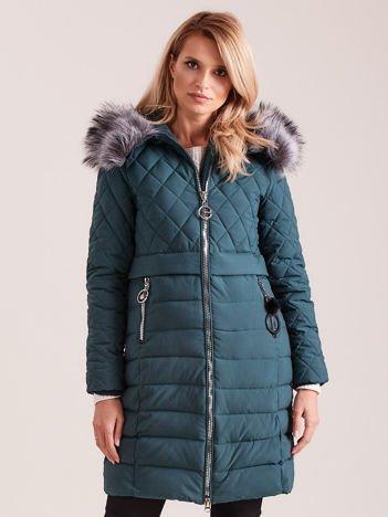 Zielona pikowana kurtka zimowa