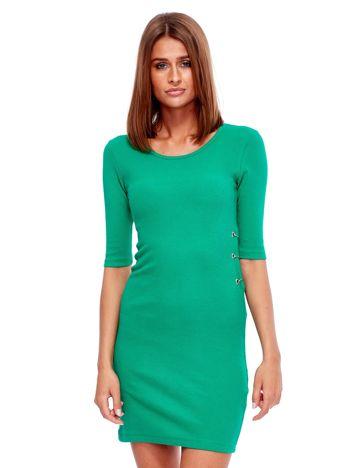 Zielona prążkowana sukienka z kółeczkami