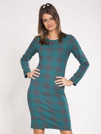 Zielona sukienka w kratę