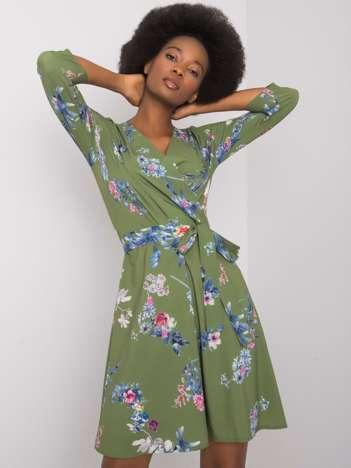 Zielona sukienka we wzory Elise