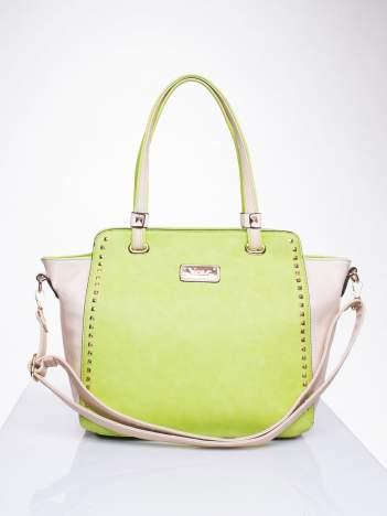 Zielona torba shopper bag z ozdobnymi ćwiekami