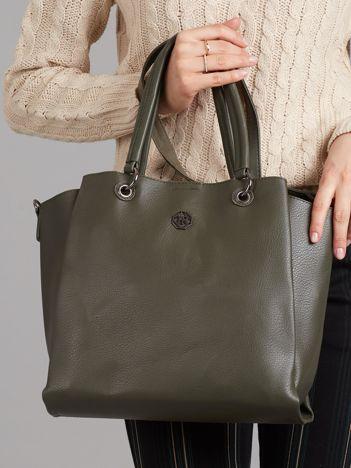 Zielona torba shopper z ekoskóry