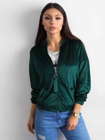 Zielona welurowa bluza bomberka