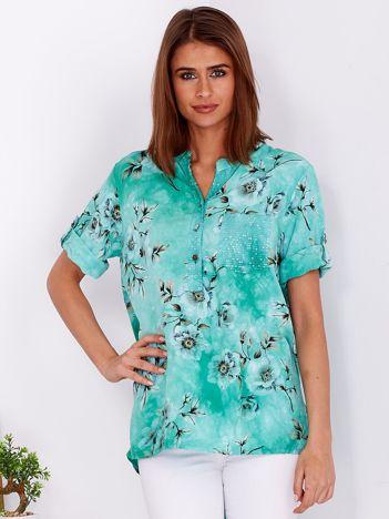 Zielona zwiewna bluzka ombre w kwiaty