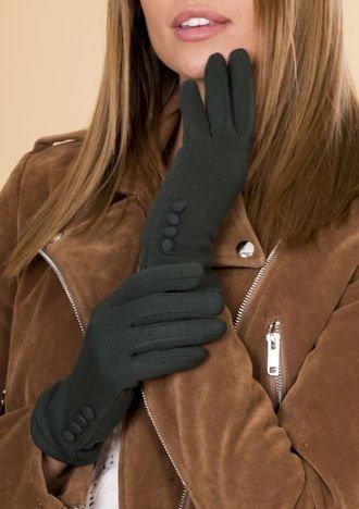 Zielone Rękawiczki Damskie Z Guzkiami