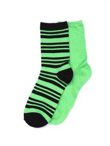 Zielone bawełniane skarpetki gładkie i w paski 2-pak