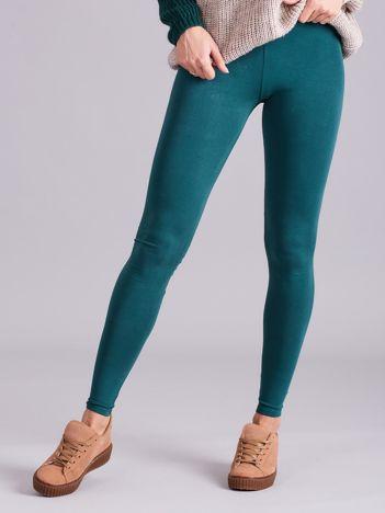 Zielone legginsy damskie gładkie
