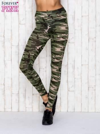 Zielone legginsy z motywem militarnym