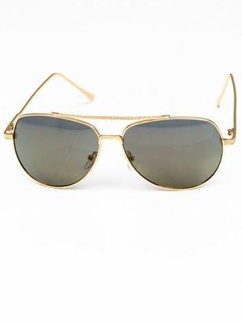 Zielone okulary w stylu PILOTKI AVIATORY lustrzanka