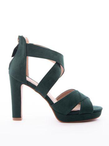 Zielone sandały SABATINA na wysokim słupku i z zapięciem na krzyż