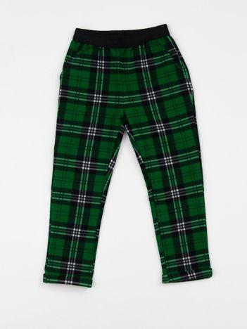 Zielone spodnie dziecięce w kratkę