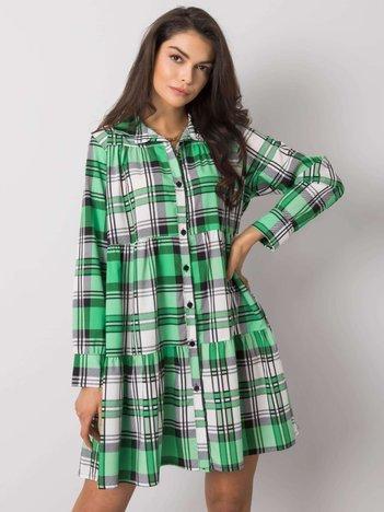 Zielono-biała sukienka w kratę Capua