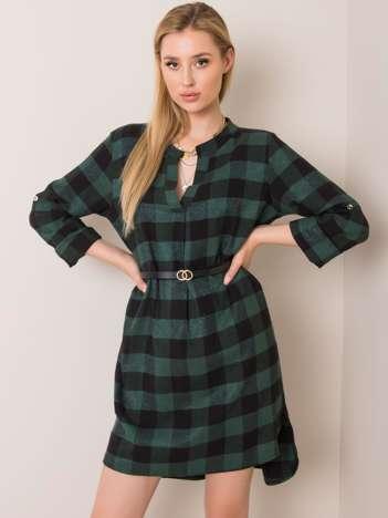 Zielono-czarna flanelowa sukienka Maddison