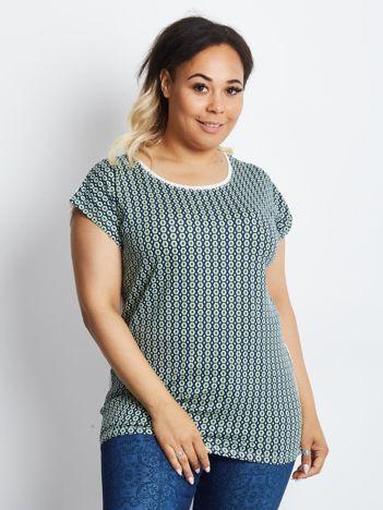 Zielono-granatowy t-shirt plus size Upright