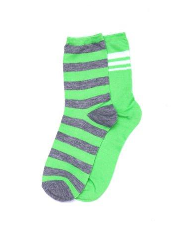 Zielono-szare bawełniane skarpety w paski 2-pak