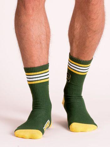 Zielono-żółte sportowe skarpety męskie
