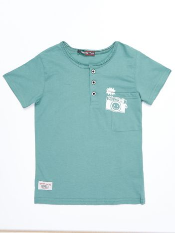 Zielony bawełniany t-shirt dziecięcy z nadrukiem aparatu