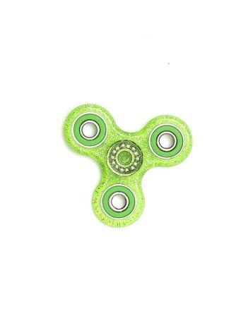Zielony brokatowy hand spinner z metalowymi obciążnikami