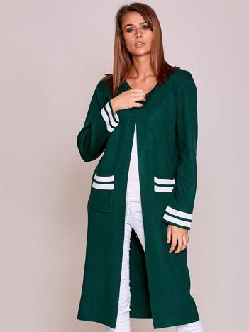 Zielony długi sweter damski