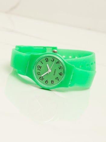Zielony mały silikonowy zegarek damski owijany wokół nadgarstka