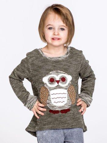Zielony sweter dziecięcy z sową i perełkami